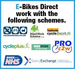 e-bikesdirect works with: NHS, cyclescheme.co.uk, bike2work, proc2w, ridework, halfords cycle2work, cycleplus, salaryExchange