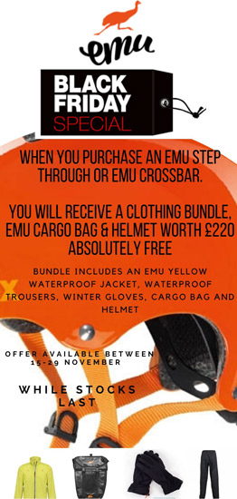 Get a FREE EMU Cargo Bag & Helmet when you purchase any EMU Step Through or Crossbar E-Bike