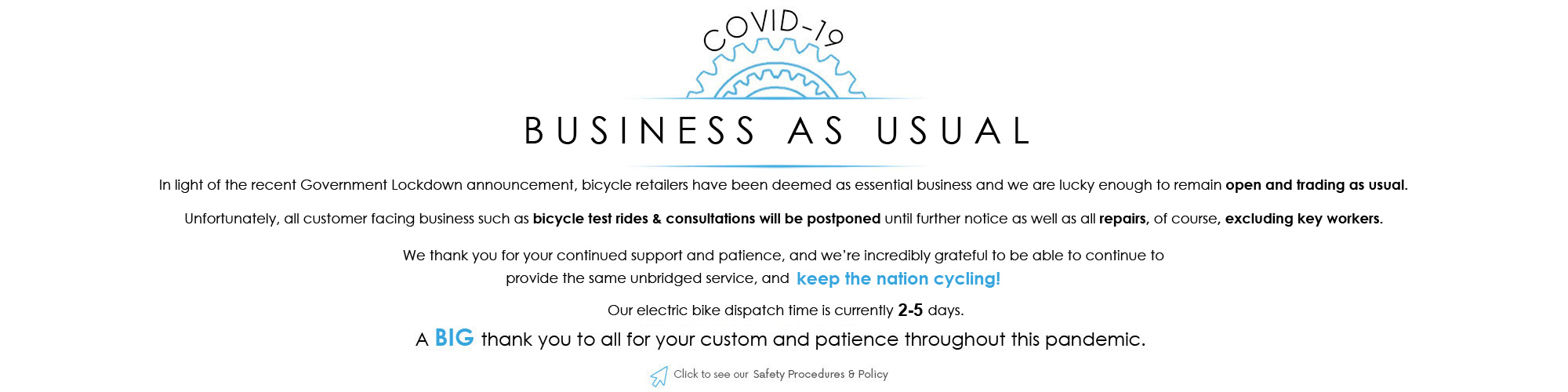 Covid-19 Policy & Proceedures at E-Bikes Direct